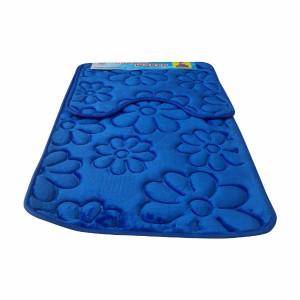 Set covoare pentru baie albastru, model flori