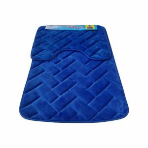 Set covoare pentru baie albastru, model dreptunghiuri