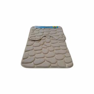Set covoare pentru baie crem, model pietre