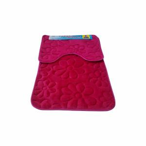 Set covoare pentru baie roz, model flori