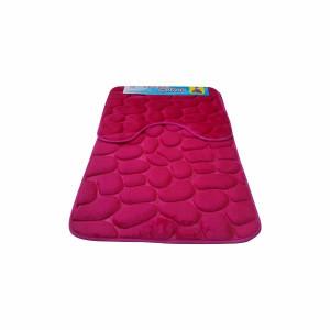 Set covoare pentru baie roz, model pietre